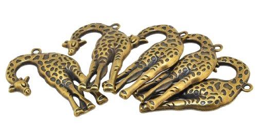 5 Wholesale Necklace Earring (Mandala Crafts Wholesale Necklace Bracelet Charm Vintage Tone Pendants (Giraffe, 5 PCs))