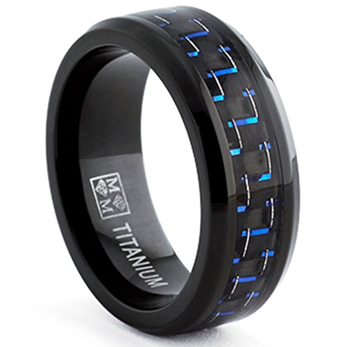 Oliveti Black Titanium Men's Black and Blue Carbon Fiber Comfort Fit Band (8mm)- Size 8