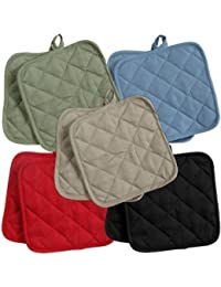 Take 5 (FIVE) Sets of The Home Store Cotton Pot Holders, 2-ct. Color Variety Pack Kitchen Cooking Chef Linens by Greenbrier dispense
