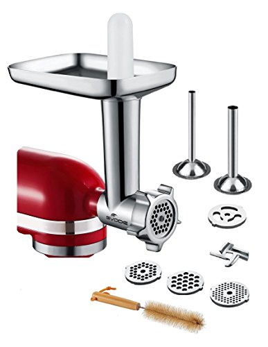 GVODE Food Meat Grinder Attachment for KitchenAid Stand Mixers Included 2 Stainless Steel Sausage Stuffers -Useful Mixer Accessory as Food (Metal Sausage)