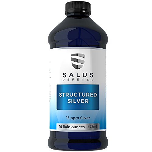 Salus Defense Structured Silver Liquid — Alkaline Water With 15ppm Structured Silver To Quickly Kill Pathogens, Viruses, Yeast and Bacteria — All Natural and Safe With No Additives — 16 Ounces ()