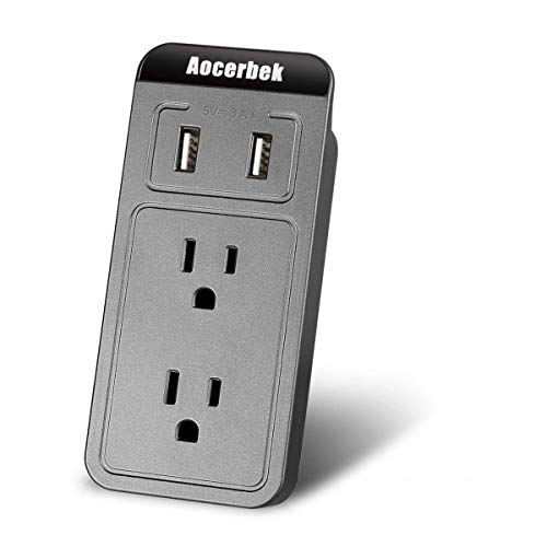Wall Outlet Aocerbek Multi Outlet Wall Mount Adapter Surge Protector with Dual USB Charging Ports Quick Charge 3.0A 2 AC Outlets Extender with Phone/Tablet Stand Holder(Grey) ()