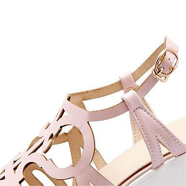 LvYuan Mujer-Tacón Robusto-Zapatos del club Innovador Gladiador-Sandalias-Vestido Informal-Semicuero-Azul Rosa Blanco Beige beige