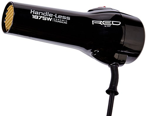 Red by Kiss Handle-Less 1875 Watt Ceramic Tourmaline Hair Dryer - With 3 Additional Styling Attachments