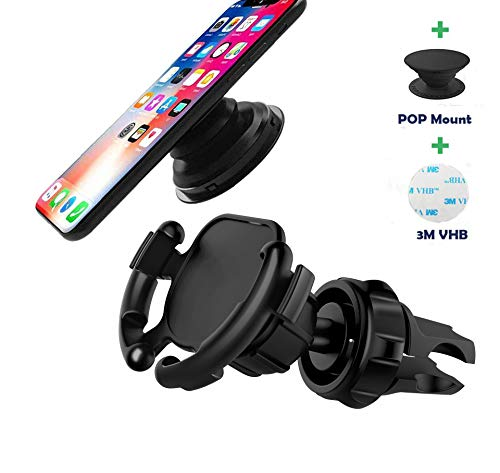 Cable Air Vent - Car Phone Mount,360 Rotation Air Vent Holder for Easier Navigation GPS,Never Fall Off Easy Installtion, Wire Holder Cable Clip for Phone 7/8/X/XS/XS Max/XR and Android Devices