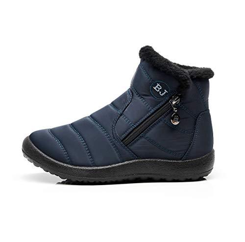 Inverno Caldo Neve Blu Stivali Donna Tqgold Scuro Stivaletti Scarpe Da Impermeabile xgI0xB