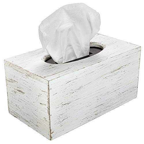 Excello Global Products Rustic White Barnwood Tissue Box Cover: Tissue Rectangle Box Includes Slide-Out Bottom Panel. Perfect for Farmhouse Bathroom Decor (Pack of 1)