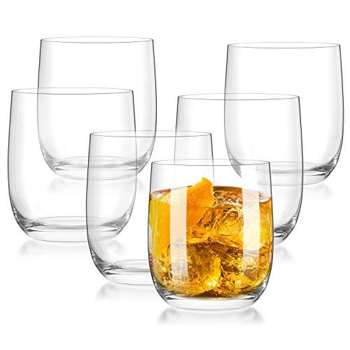 CREATIVELAND Crystal Tumbler Glasses Set of 6 LEAD-FREE CRYSTAL GLASSES, Brilliant Clarity, Thin Rim, Whiskey Glass…