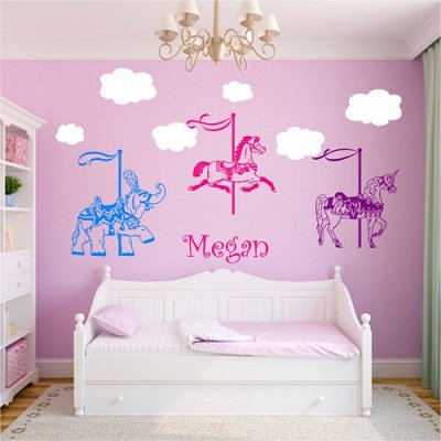 New Fashion Hot Horse Elephant Unicorn Carousel Wall Stickers Home Decor Wall Decals Vinyl Personalized Name Decoration