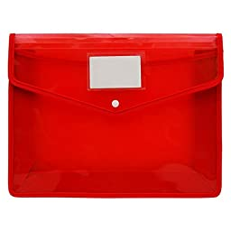 A4 Size Paper File Folder Opaque Document Red Storage Case Bag Office Supplies Pack Of 5