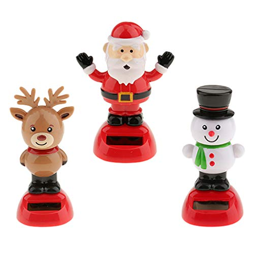 (D DOLITY 3Pcs Solar Powered Dancing Animal Toy Snowman Reindeer Santa Claus Bobblehead Bobble Head Bobbling Dancing Toys, Desk Office Car Dashboard Figure)