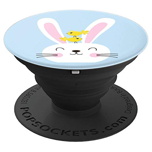 Cute Bunny With Two Yellow Chicks On Its Head On Blue - PopSockets Grip and Stand for Phones and Tablets