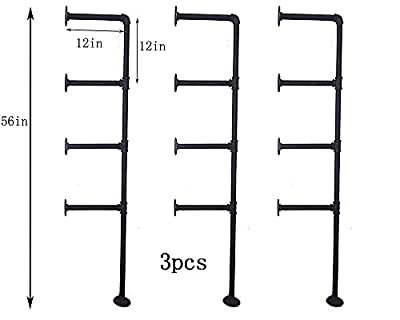 WGX Design For You Industrial Retro Wall Mount Iron Pipe Shelf Bracket DIY Storage Shelving Bookshelf