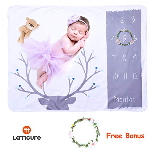 LATTCURE Baby Milestone Blanket, Fleece Baby Monthly Milestone Blanket Swaddle Newborn Photo Props Infant Photography Props Blanket Boys Girls Baby Shower Gifts (Baby Photo Blanket-Antlers) -