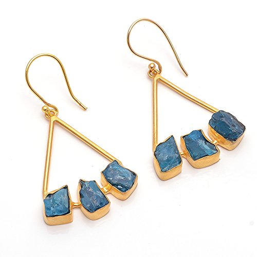 Natural Neon Apatite Raw Gemstone Earrings, Gold Plated Brass Handmade Fashion Jewelry BE188