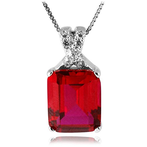 JewelryPalace Emerald Cut 6.1ct Created Red Ruby Pendant Necklace 925 Sterling Silver 18 Inches