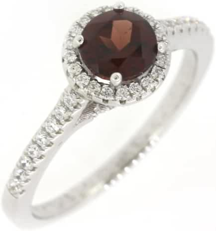 Sterling Silver Round Natural Mozambique Garnet Halo Ring w/ Accent (1 CT.T.W)