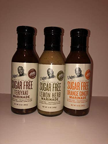 G Hughes Sugar Free Assorted Marinades (1) Lemon Herb 12oz bottle (1) Teriyaki 12oz bottle and (1) Orange Ginger 12oz - Sauce Ginger Orange
