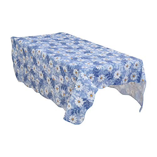 uxcell Blue Daisy Pattern Rectangle Tablecloth Cover Water/Oil Stain Resistant 71 x 54 Inch for Wedding Party Decoration