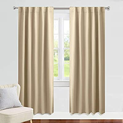 "PONY DANCE Beige Curtains 84 inch - W 42 x L 84 Inches, Biscotti Beige Living Room Blackout Window Treatments Darkening Heavy-Duty Back Loop Draperies Energy Saving Home Decoration, 2 Panels - READY MADE: 2 pieces of Heavy-duty blackout curtains includes, each measures 42"" wide x 84"" Long(Total width is 84""). 6 back tabs per panel, 3"" rod pocket top fits most standard rods and makes the maximize coverage of windows. VERSATILE STYLES: Dual header(Back Tab and Rod Pocket) enable you to decorate your home with different styles. Curtains can be styled in 3 ways: back Loops, rod pocket or with your own clip-rings. LIGHT FILTER: Super soft fabric can filter the sunlight or the harsh street light from passing through the windows. *The PURE WHITE curtains without the black yarn can only block 70-80% light.* - living-room-soft-furnishings, living-room, draperies-curtains-shades - 416S NF6BHL. SS400  -"