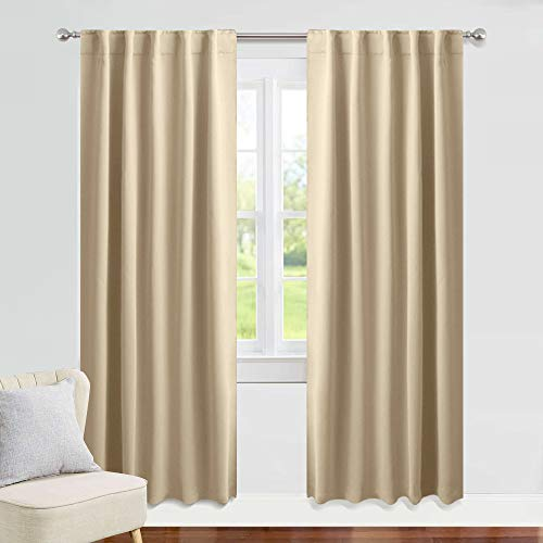 PONY DANCE Beige Curtains 84 inch - W 42 x L 84 inches, Biscotti Beige Living Room Blackout Window Treatments Darkening Heavy-Duty Back Loop Draperies Energy Saving Home Decoration, 2 Panels