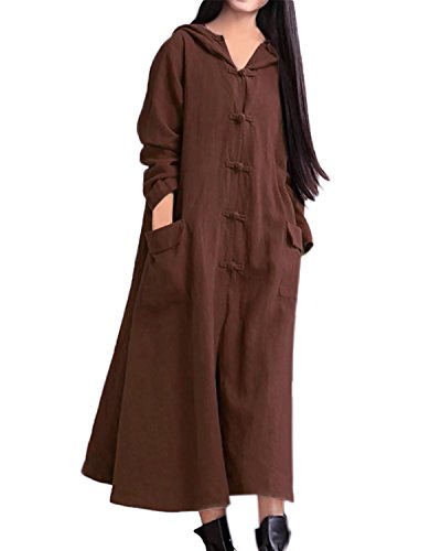 Largas Maxi Marrón497227 Suelto Cóctel Algodón Fiesta Elegante Capucha Mujer Vestido StyleDome Noche Mangas Rw4xqEzZHT