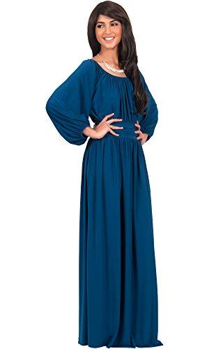 KOH KOH® La Mujer Vestido maxi con cinturon manga larga Verde Azulado
