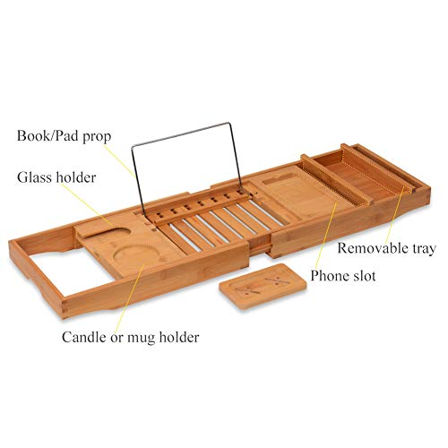 Domax Bathtub Caddy with Wine Glass Holder Adjustable Book Stand Extendable Non Slip Sides Bamboo Bath Tray by Domax (Image #4)