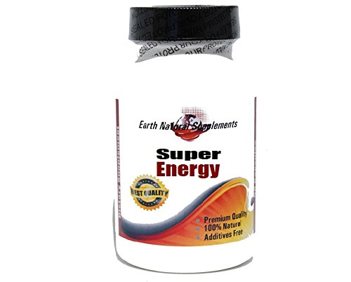 Super Energy with Green Tea 350mg , Ginseng 300mg and Guarana 250mg * 180 Capsules 100 % Natural - by EarhNaturalSupplements