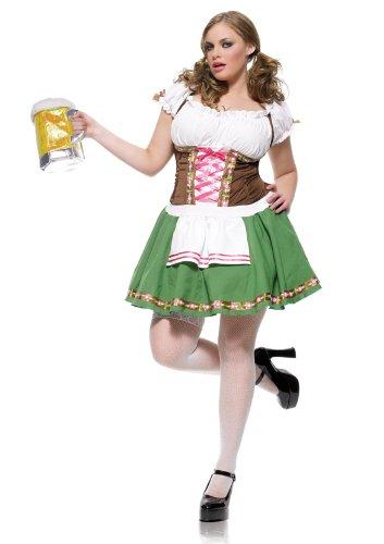 [Leg Avenue Women's Plus Size Gretchen Costume, Green/Brown, 1X-2X] (Lady Reaper Plus Size Costumes)