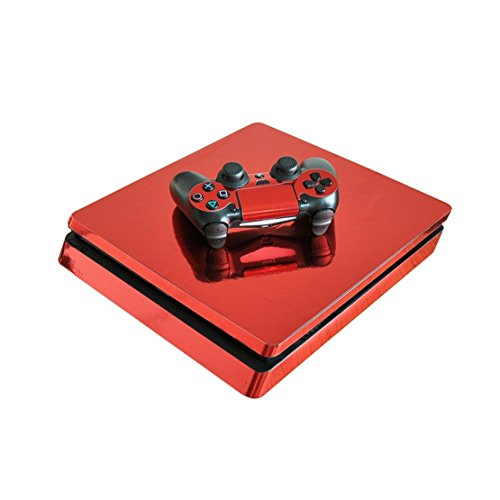 Chickwin PS4 Slim Vinyl Skin Full Body Cover Sticker Decal For Sony Playstation 4 Slim Console & 2 Dualshock Controller Skins (Red - Jack Wills Uk Voucher
