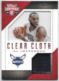 Al Jefferson 2014-15 Totally Certified Clear Cloth Jerseys Red #286/299 Charlotte Hornets Jersey Insert Card #50