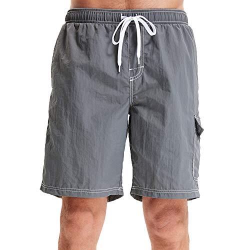 WORW Men's Quick Dry Board Shorts Swim Trunks (Grey, S)