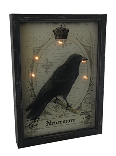 Wood & Glass Decorative Wall Plaques Nevermore Raven Gothic 3D Look Led Light Up Wall Hanging 13 X 18 X 2.25 Inches Black