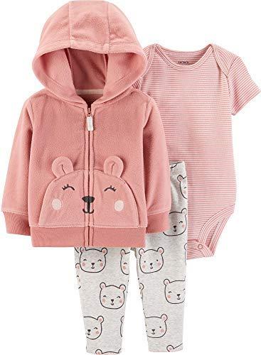 Girl Baby Pink Cardigan - Carter's Baby Girls' Cardigan Sets (Pink/Bears, 24 Months)