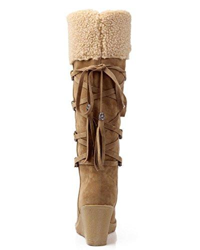 Scarpe Piatto Stivali Zeppa Inverno Imbottito Tacco Da Neve Marrone Stivali Termico Minetom Cotone Caldo Donna fpFOq1z