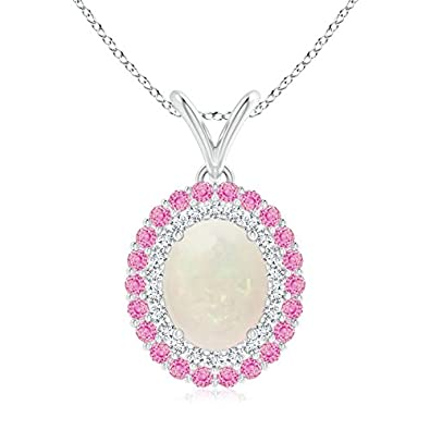 Angara Dangling Round Pink Tourmaline and Diamond Halo Pendant in Platinum 9wyvA6Pb