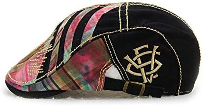 JAMONT Mens Berets,Cotton Peaked caps,Stitching Grid Fashion Hats