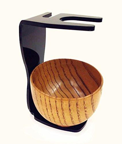 New Standard Safety Razor Stand Wood Shaving Bowl Black Acrylic Stand for Badger or Bristle Shaving Brush Holder Storage Kit + Bag Wet Shaving Set Loving Gift for Men