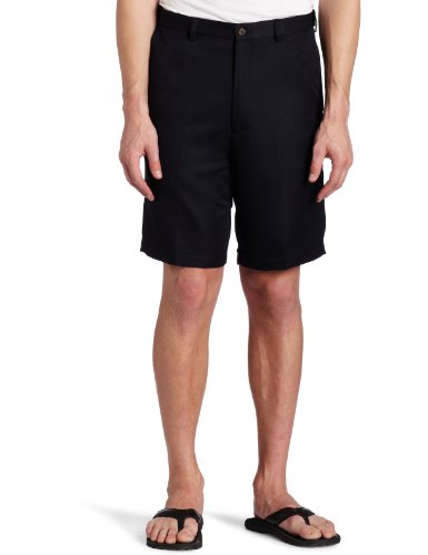 Haggar Mens Haggar Cool 18 Gabardine Plain Front Short, Navy, 40