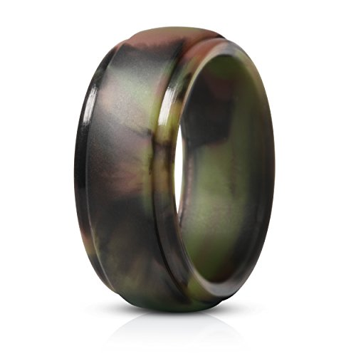 Saco Band Silicone Ring for Men Rubber Wedding Band - 1 Ring (Camo, 8.5-9 (18.9mm)) ()