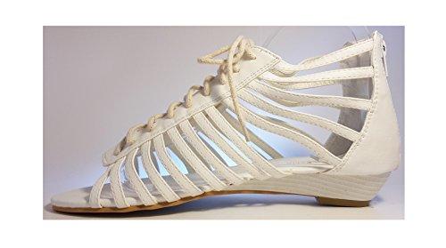 Sandalias mujer, tacones altos, rosa, negro, blanco, beige, marrón, gris, leopardo, modello 11064105008251, zapatos de mujer, diferentes modelos y tamaños. Blanco con los cordonos.