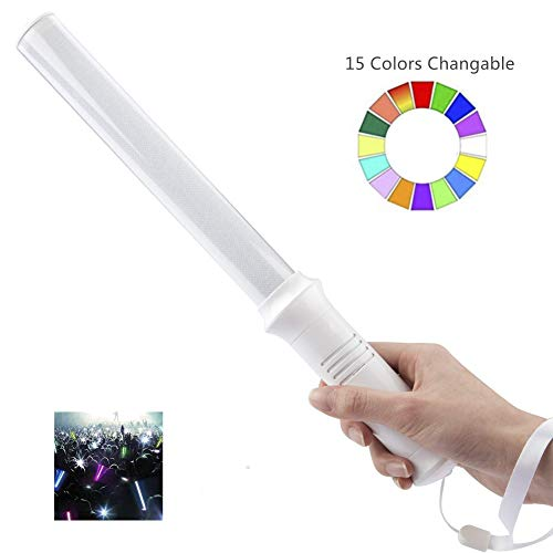 Multicolor LED Glow Sticks,15 Color Changing Traffic Safety Baton,Party Flashing Light, 2 Lighting Modes, Ultra Bright Flashing Light Sticks for Festivals, Raves, Birthdays,Parking Guides and Dog Walk]()