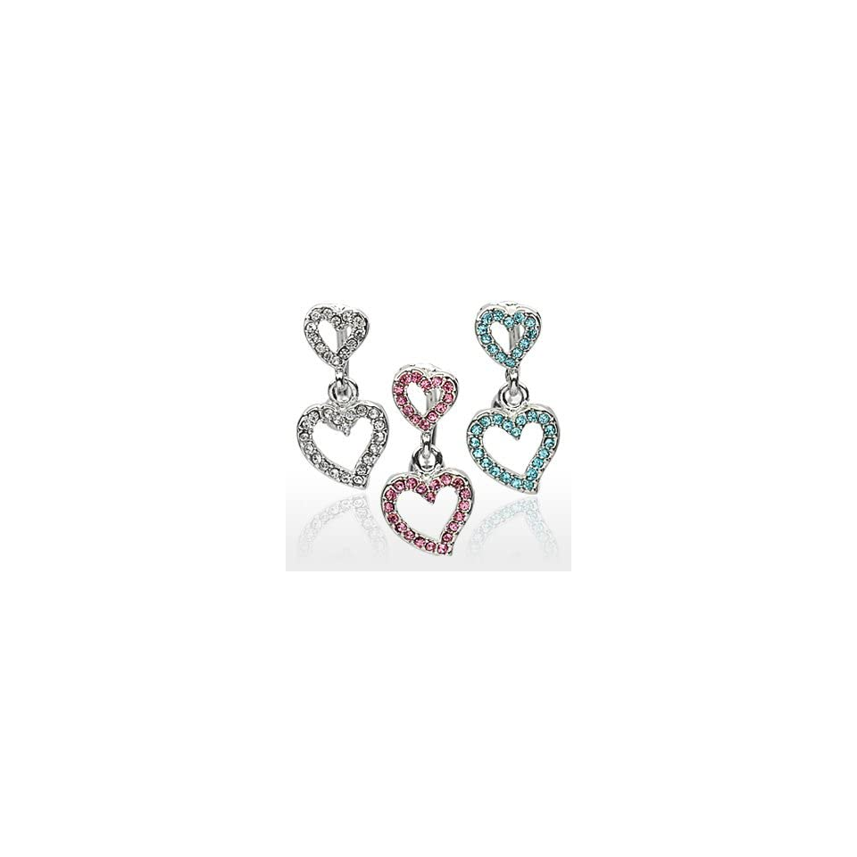 Top Drop Pink Pave Gemmed 2 Heart Belly Ring   14G   3/8 Bar Length   Sold Individually