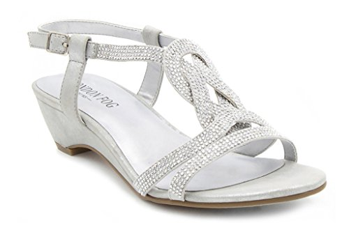 London Fog Womens Macey Demi-Wedge Dress Sandals Silver 6 M US