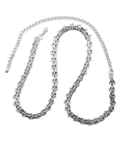 Silver Link Belt Chain Tone (NYFASHION101 Women's Dressy Belly Body Waist Chain Belt, Single Link 2004R, Silver-Tone)