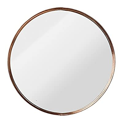 Bloomingville A27140024 Round Metal Framed Mirror with Ball Feet - Metal & glass construction Actual mirror is 17.5 inches round Copper finish - bathroom-mirrors, bathroom-accessories, bathroom - 416S45jzgXL. SS400  -