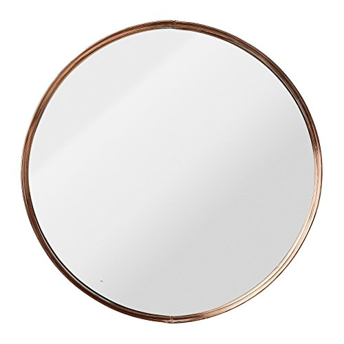 Medium Round Metal Framed Mirror with Copper - Copper Mirror Round