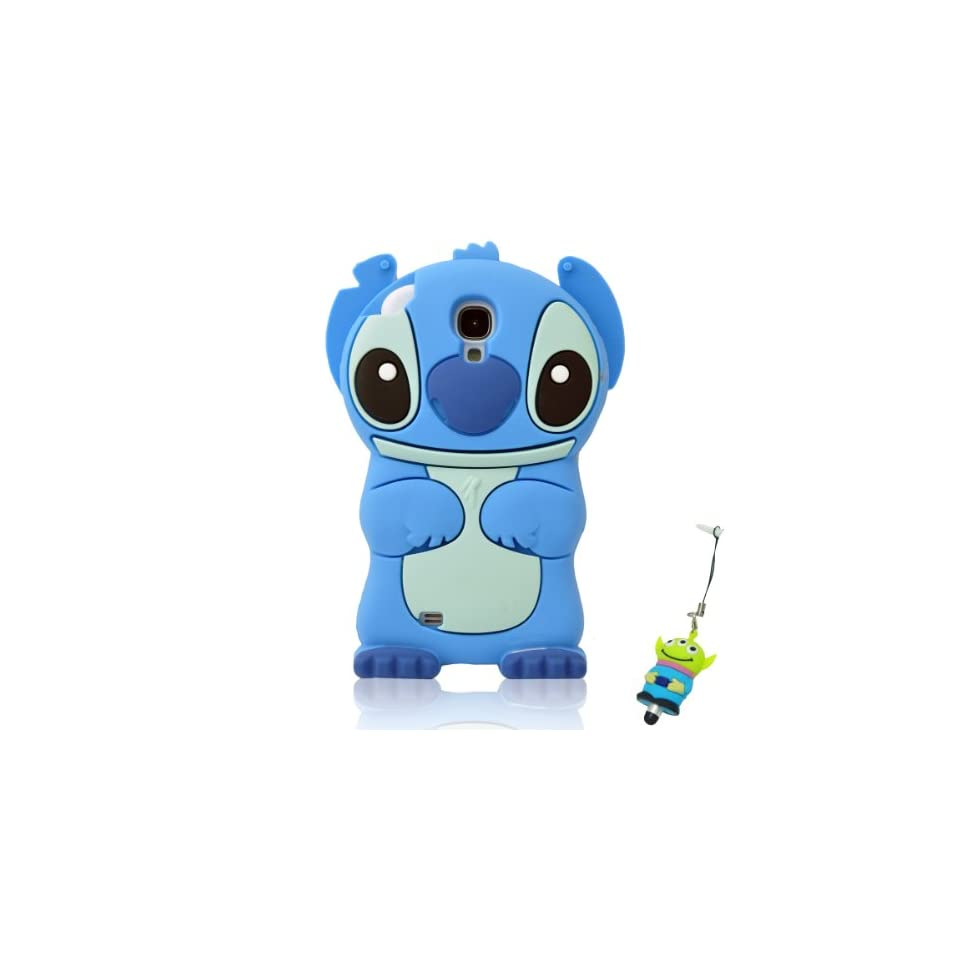 I Need Cartoon 3D Movable Blue Ears Stitch &Lilo Soft Silicon Cover Case for Samsung Galaxy S4 SIV i9500(Blue)With 3d Eyes Alien Styli Pen