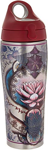 Tervis 1298869 Purple Lotus Flower Stainless Steel Insulated Tumbler with Maroon Lid 24oz Water Bottle -